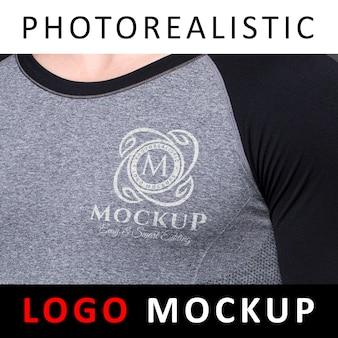 Logo mock-up - zeefdruk afdrukken zeefdruk logo op sport doek t-shirt