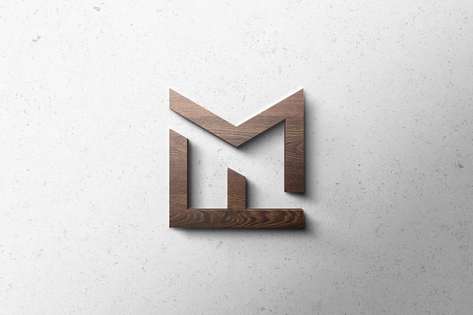 Logo mockup 3d hout