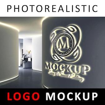 Logo mockup - 3d led-achtergrondverlichting met led-logo op de muur van een bedrijf