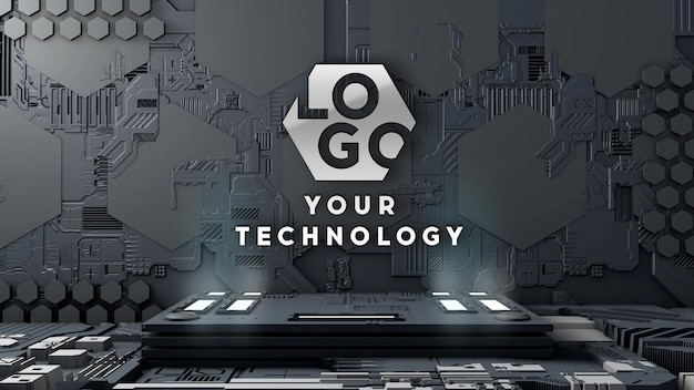 Logo mockup 3d-technologie circuitmuur