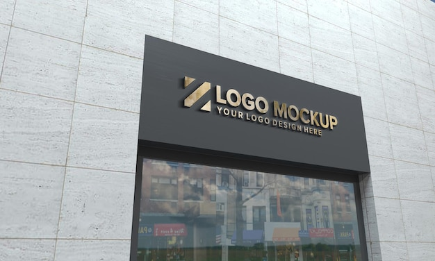 Logo mockup 3d-teken gebouw 3d-gerenderd