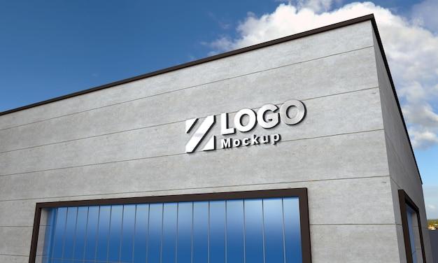 Logo mockup 3d-teken zwart gebouw 3d weergegeven