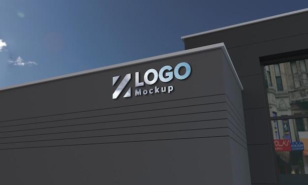 Logo mockup 3d-teken zwarte façade gebouw 3d weergegeven