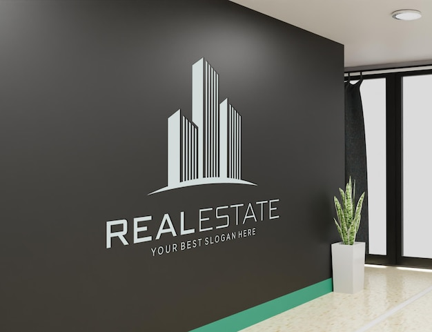 Logo mockup aan de muur van de kamer