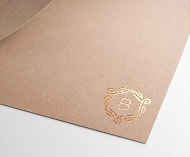 Logo mockup brown paper gold