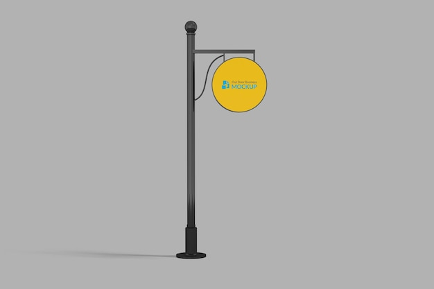 Logo mockup cirkel uithangbord