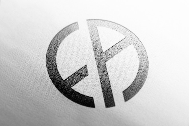 Logo mockup close up white paper