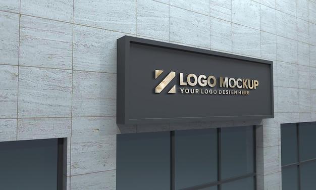 Logo mockup design building zijaanzicht 3d weergegeven