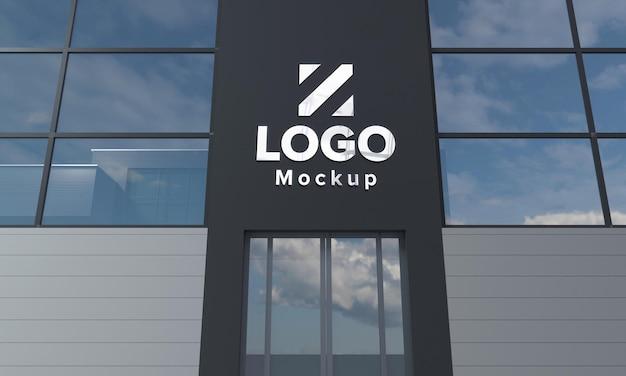 Logo mockup design gebouw close-up 3d weergegeven