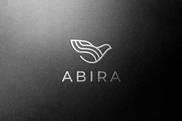 Logo mockup di lusso in argento nero