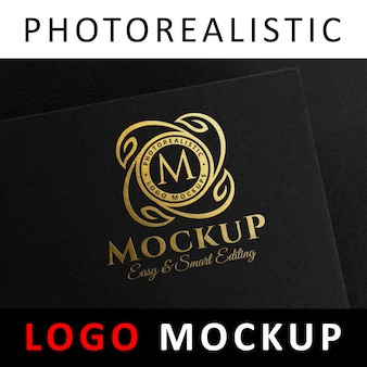 Logo mockup - golden foil stamping logo on black card