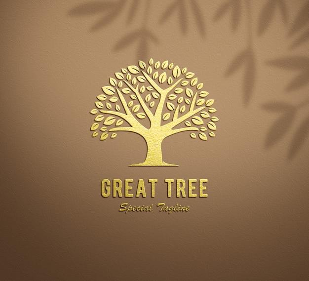 Logo mockup goud reliëf