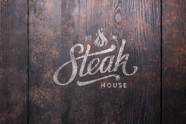 Logo mockup grill in legno