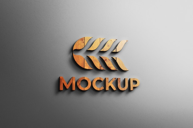 Logo mockup houten 3d moderne muur