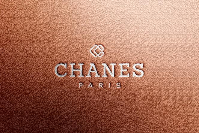 Logo mockup in bruin luxe leer