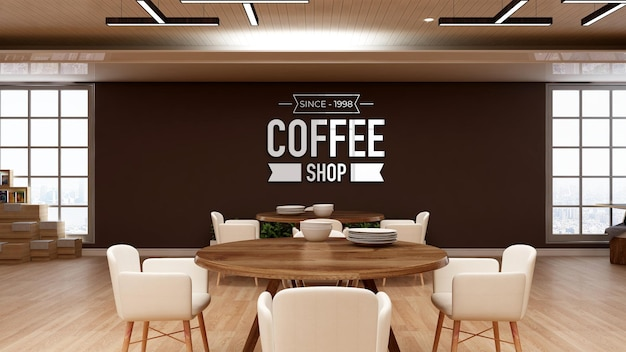 Logo mockup in de coffeeshop muur signange
