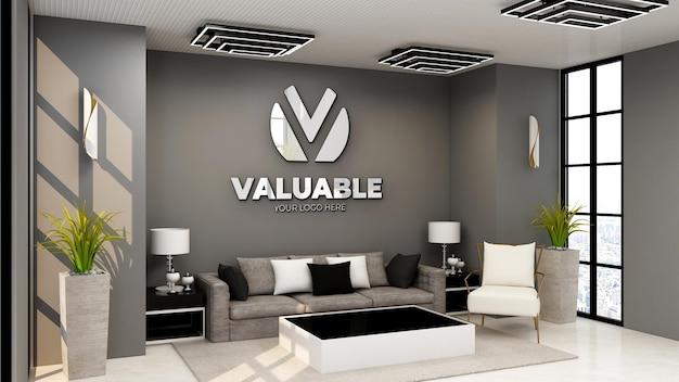 Logo mockup in de wachtkamer van de moderne kantoorlobby