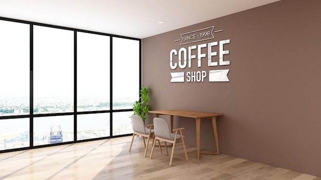 Logo mockup in de werkruimte van de coffeeshop