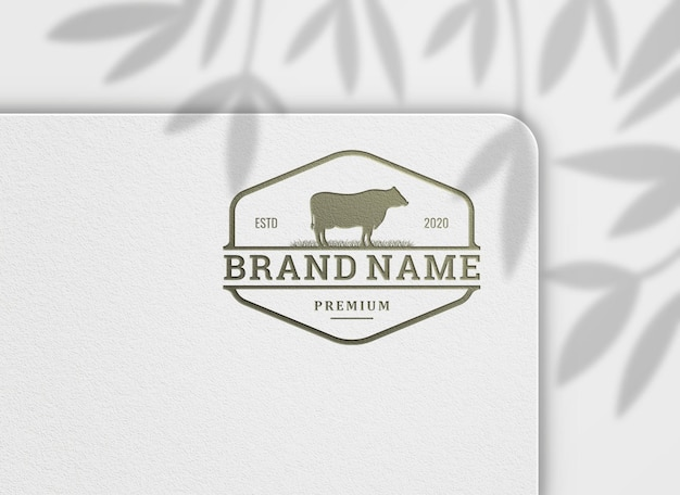 Logo mockup luxe stempel op gestructureerd ontwerp