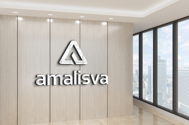 Logo mockup met een kantoormuur