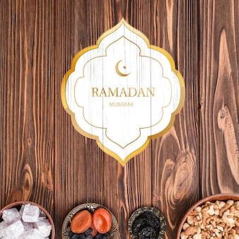 Logo mockup met ramadan concept