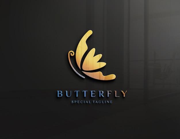 Logo mockup met reliëf op glazen wand