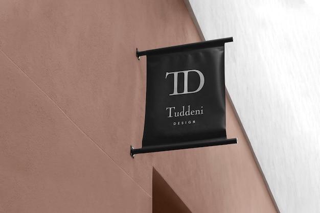 Logo mockup modern flag sign