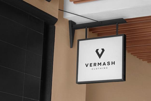 Logo mockup modern white hang sign