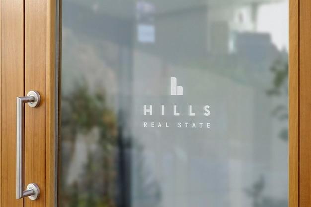 Logo mockup office deur raam teken