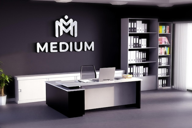 Logo mockup office room black wall
