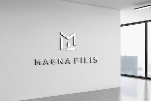 Logo mockup office wall 3d