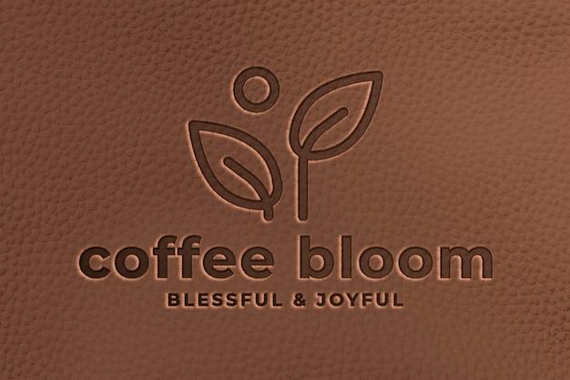 Logo mockup-omgeving psd, leer realistisch ontwerp