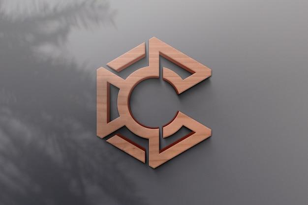 Logo mockup-ontwerp met plantenschaduw