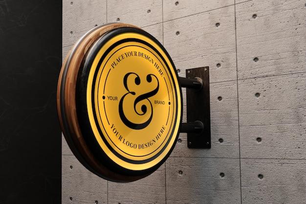 Logo mockup op betonnen muur