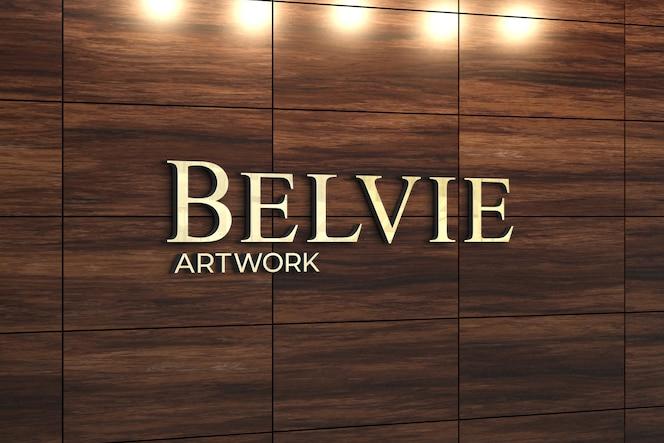 Logo mockup op exotische houten wanddecoratie