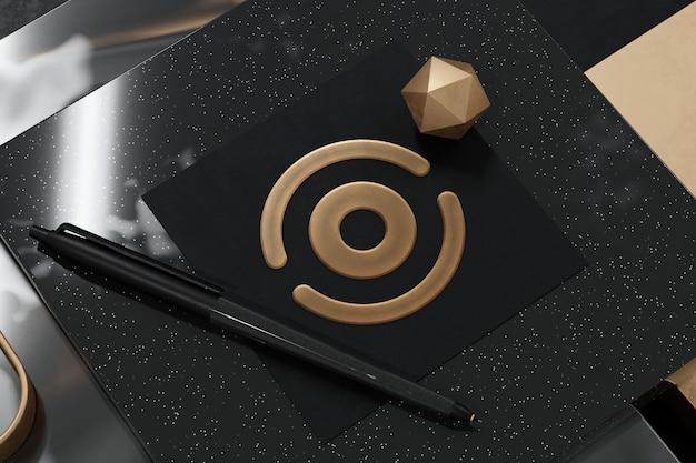 Logo mockup op geweven vierkant papier met 3d-rendering