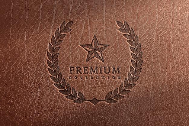 Logo mockup op leder texture