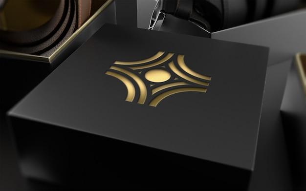 Logo mockup op lederen riempakket