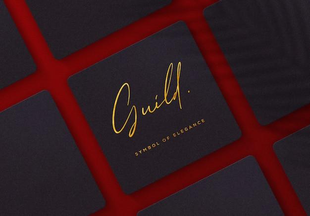 Logo mockup op luxe en elegante vierkante doos