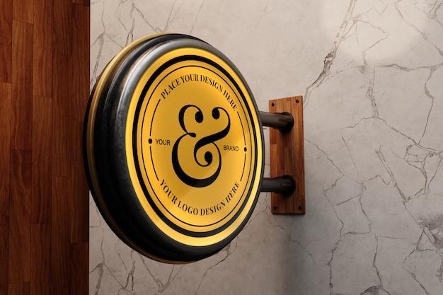 Logo mockup op marmeren muur