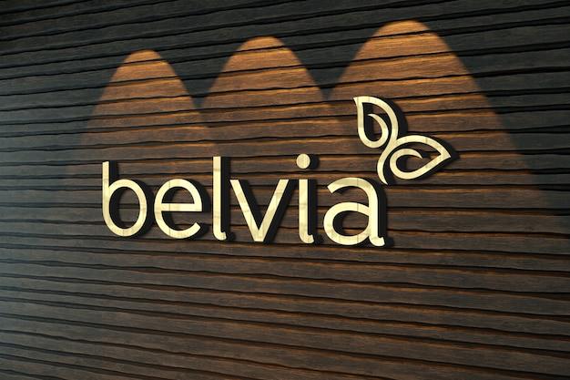 Logo mockup op oude houten plank muur