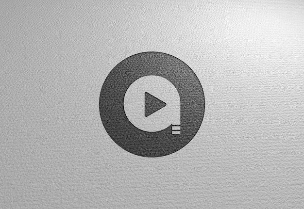 Logo mockup op wit papier textuur