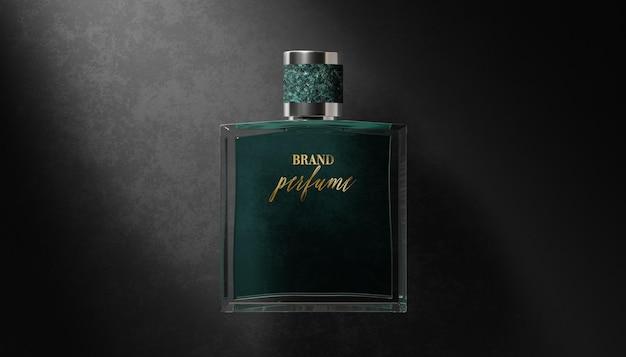Logo mockup parfumfles op zwarte achtergrond