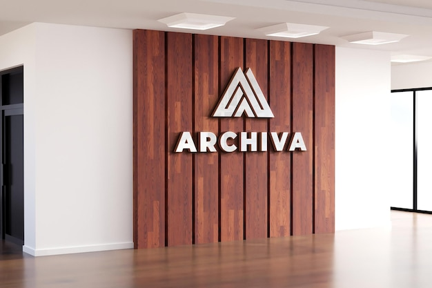 Logo mockup realistisch teken office houten muur