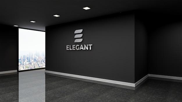 Logo mockup realistische teken kantoor zwarte muur