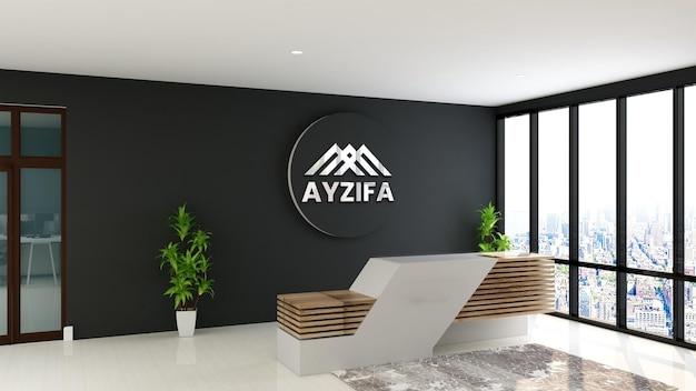 Logo mockup receptioniste kantoorruimte met houten tafel