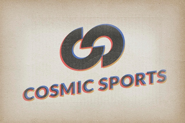 Logo mockup retro psd, papier realistisch ontwerp