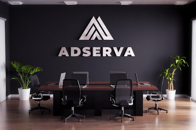 Logo mockup sign meeting room black wall