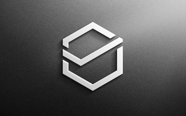 Logo mockup ufficio muro 3d