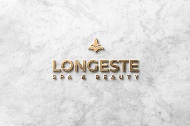 Logo mockup voorzijde 3d goud op marmer